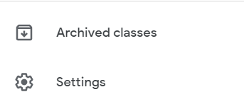select the settings option in Google Classroom
