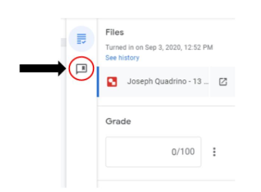 Provide a comment in Google Classroom