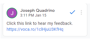 leaving voice recordings as feedback in Google Classroom