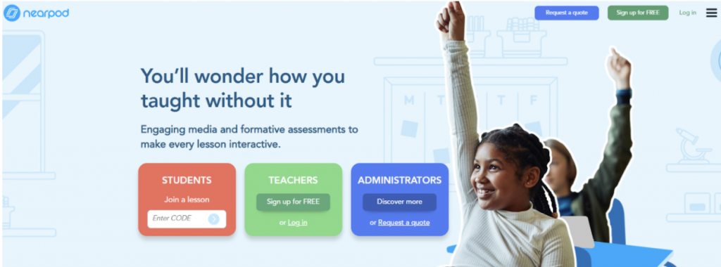 Nearpod Home Page with login options