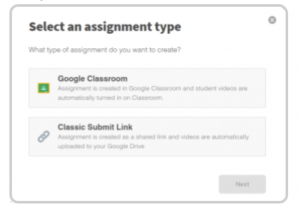 Select an assignment type in Screencastify Submit